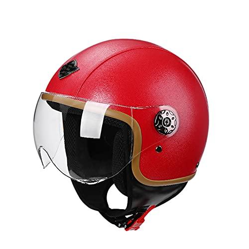 YAYT Casco de Motocicleta de Cara Abierta Retro Hecho a Mano de Cuero de PU, Color sólido, con Gafas, Casco para Adultos, Aprobado por Dot/ECE, protección para la Cabeza anticolisión (56~62 CM)