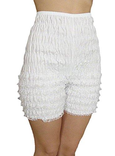 Malco Modes Jaime Pettipants, Style N21, Woman Costume Shorts, Sexy Ruffle Panties, Lacey Dance Shorts (White, Medium)