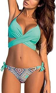 BEESCLOVER Women Bikini Set Swimwear Cross Strap Two Piece Triangle Bikini Set Women Summer Beach Bikini Bathing Suit Blue Flower M