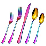 Cibeat Silverware Set, 20 Piece Flatware Set, Stainless Steel Home Kitchen Hotel Restaurant Tableware Cutlery Set, Service for 4, Include Knife/Fork/Spoon, Mirror Polished, Dishwasher Safe (Rainbow)