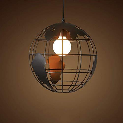 Vampsky Lampe suspension 28cm noir/blanc éclairage intérieur Industriel pendentif vintage lampes globe créatif terre fer cage rétro lustre plafond pour restaurant bar salle à manger luminaire