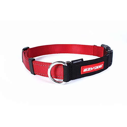 EzyDog Checkmate Martingale-Style Premium Nylon Safety Training and Correction Dog Collar - Quick-Clip Buckle and Reflective Stitching - Easy Control with no Choking Effect (Large, Red)