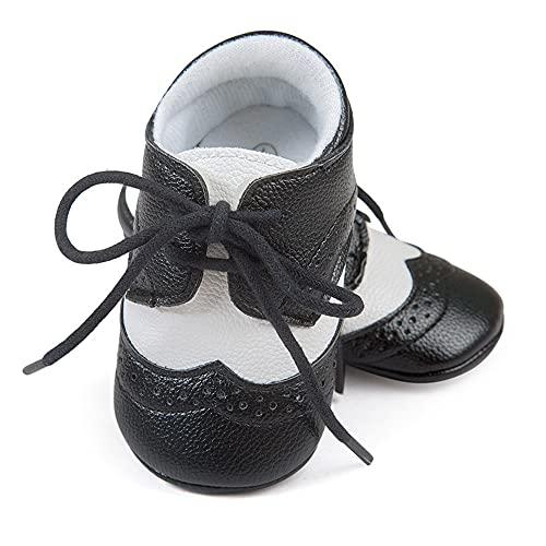 ESTAMICO Baby Jungen PU Schnürsenkel Lauflernschuhe Kleinkind Sneaker Schwarz 6-12 Monate