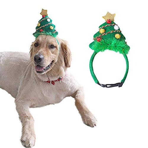 ANIAC Pet Green Christmas Hat Santa Cap Adjustable Xmas Tree Headdress Wedding Headgear Cute Head...