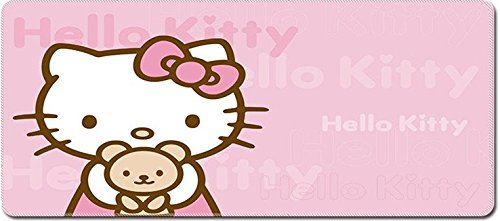 Smaige XXL Extended Gaming Mouse Mat / Pad - Large, Wide (Long) Mousepad, Stitched Edges | 27.6'x11.8'x0.08' Dimensions (Hello Kitty)