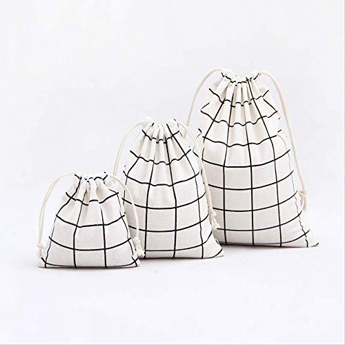 3 pièces coton et lin cordon poche paquet petit sac de bande dessinée impression stockage cosmétiques voyage mignon sac bourse A