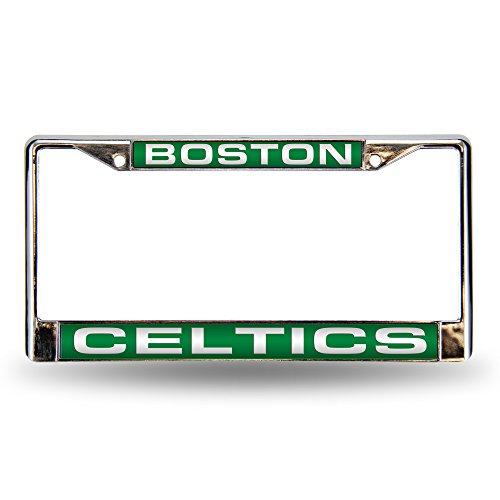 Rico Industries NBA Boston Celtics Laser Cut Inlaid Standard Chrome License Plate Frame , 6 x 12.25'