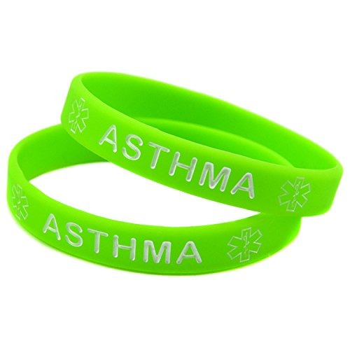 1x Medical Asthma Awarenes Alert Silicone Bracelet Wristband (Green)