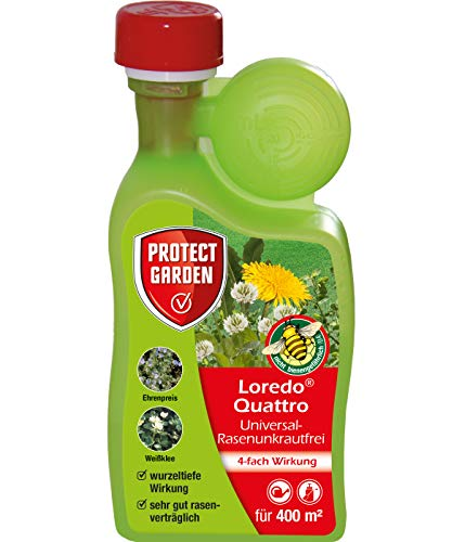 PROTECT GARDEN Universal-Rasenunkrautfrei Loredo Quattro, Rasen Unkrautvernichter gegen hartnäckige Unkräuter mit 4-fach Wirkung, 400 ml