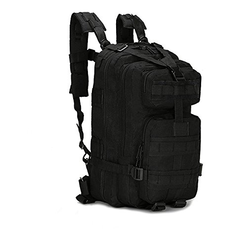 SHANNA Trekking Rucksack, Military Backpack 25L Army Rucksack MOLLE Assault Pack Tactical Combat Backpack for Outdoor Hiking Camping Trekking Fishing Hunting (Black)