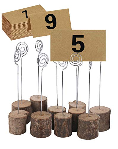 ECHI Wedding Table Card Holder, Real Wooden Base Photo Holder - Suit Photo,Picture,Memo,Card,Business Card Clip (10PCS)