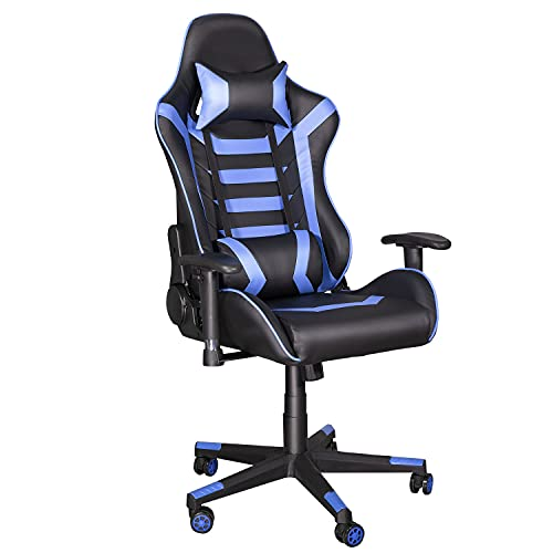 Ninecer Gaming Chair, High Back Ergonomic Office Chair Computer Chair for Teens, Desk Chair with Adjustable Swivel Task Chair for Adults with Headrest and Lumbar Support Blue