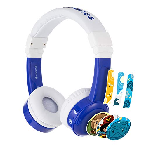 Auriculares para Niños Onanoff- Inflight | Adaptador para Vuelo, 3 Niveles de Sonido, Pegable, Bolsa de Viaje, Microfono integrado, Cable desmontable | Limitador de Volumen | Diadema Ajustable| Azul