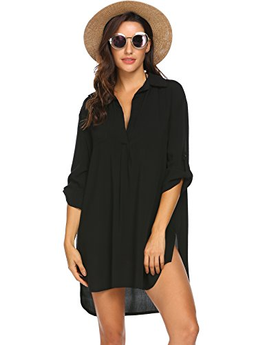 Ekouaer Swimsuit Cover Up Henley Shirts Beachwear for Women Black