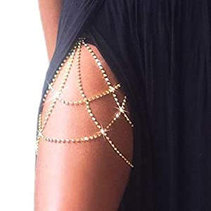 Victray Crystal Leg Chain Glitter Body Chains Beach Thigh Chain Fashion Body Jewelry Accessory for Women and Girls (Gold)
