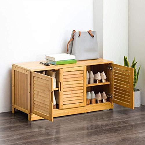 Pkfinrd Zapatero Organizador Simple de múltiples Capas para Piso con Puerta Zapatos de salón de Madera Maciza a Prueba de Polvo Nanzhu para Interiores, Natural, 33x46x95cm