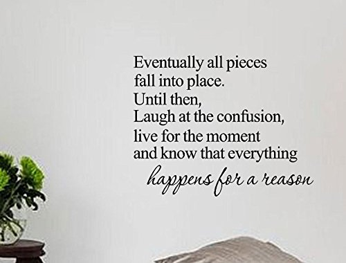 Picniva Eventually All Pieces Fall into Place Inspirational Quotes and Saying Vinyl Wall Art Home Decor Decal Sticker