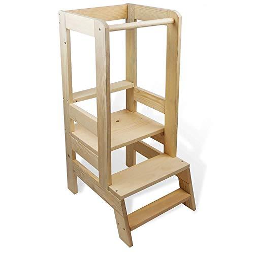 Lernturm Learning Tower - Lernturm Kinder Helferturm Küchenhelfer Lernstuhl Montessori Kitchen Helper Stehhocker Natur Holz