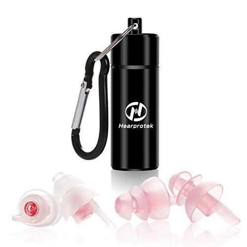 Tappi orecchie per dormire,Hearprotek 2 coppie tappi protezione dell'udito (32db & 30db) per anti russare, riduzione del rumore, traversine laterali, viaggi, lavoro(Rosa)