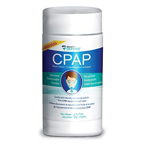 MedPro Defense Cpap Mask Wipes for Daily Cleaning, Gently Removes Dirt and Oil, Biodegradable, Unscented, Lint-Free, Flushable, Naturally Remove Dirt from CPAP Masks