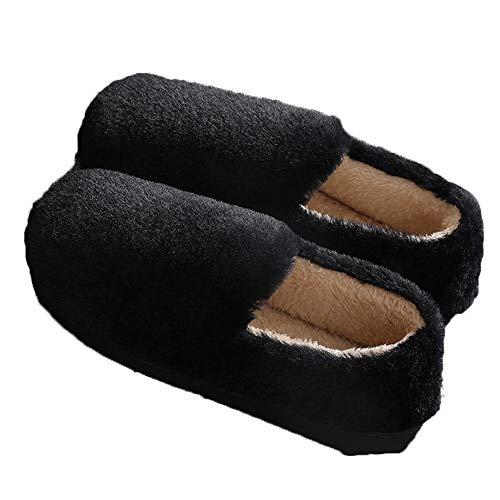 Frauen Fuzzy Fluffy House Hausschuhe Warme Kunstpelz Folien Cosy Thicken Plüsch Memory Foam Anti Slip Weiche Indoor Outdoor Schuhe,Schwarz,S