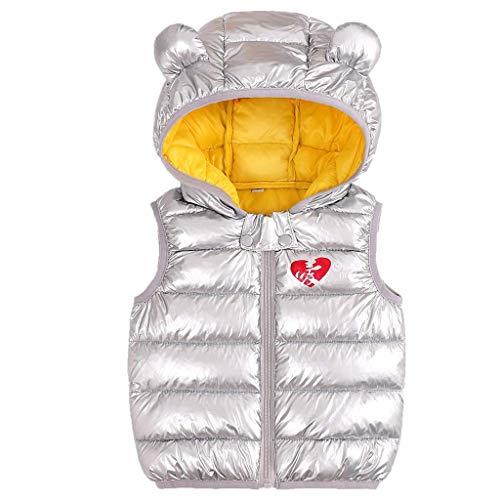 Bebé Chaleco de Abajo Infantil Chaleco de Plumas Invierno Encapuchado Chaquetas Acolchado Ligero sin Mangas Abrigo, 4-5 Años