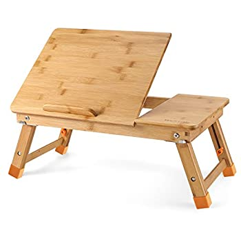Nnewvante Lap Desk Bed Tray Table Kid-Size Adjustable 100% Bamboo Portable Breakfast Serving Lap Table w  Tilting for Reading Writing Playing