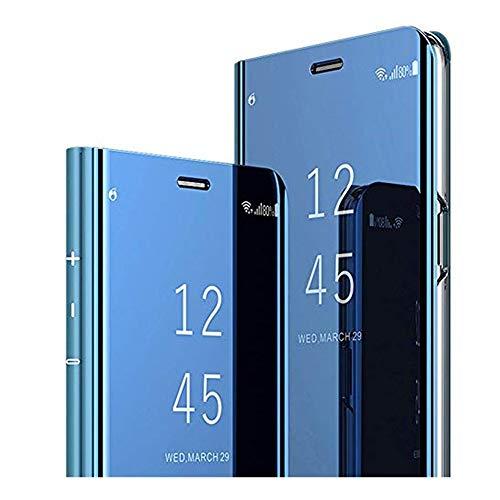 Clear View Standing Cover für das Samsung Galaxy A9 2018, Samsung Galaxy A9 2018 Spiegel Handyhülle Schutzhülle Flip Cover Schutz Tasche mit Standfunktion 360 Grad hülle für A9 2018 (Blau)