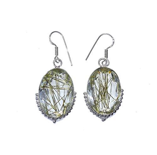 Pendiente moderno para mujeres y niñas, piedras preciosas auténticas en plata de ley 925, joyería balinesa hecha a mano