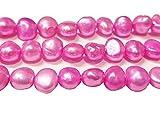 30 perlas cultivadas de agua dulce, 6 mm, color rosa, grano de arroz, natural, barroco, piedras preciosas, perlas de concha, para enhebrar