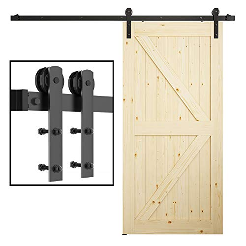 skysen 6.6FT Single Door Sliding Barn Door Hardware Track Kit Black (I Shape)