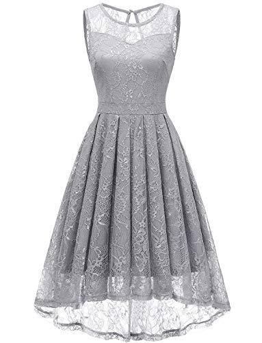 Gardenwed Damen Kleid Retro Ärmellos Kurz Brautjungfern Kleid Spitzenkleid Abendkleider CocktailKleid Partykleid Grey M