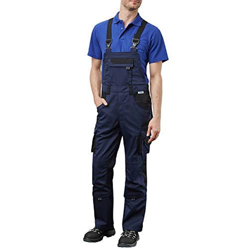 Pionier ® workwear Latzhose Arbeitshose   reißfest strapazierfähig UV-Schutz   Cargohose mit Handytasche Kniepolstertasche Stauraum   Marine/schwarz 52