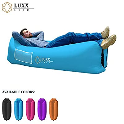 LUXX LIFE - Inflatable Lounger Camping Sofa Air Lounger - Camping, Hiking, Traveling, Park, Beach, Pool, Lakeside, Picnic, Festivals - Durable & Waterproof - Indoor/Outdoor Use, Pack of 1, Blue