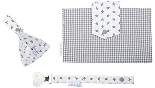 Filia & Filius neceser para pañales para bebé (3piezas, con bolsa para pañales, funda para chupete y cinta para Chupete) Vichy Grau