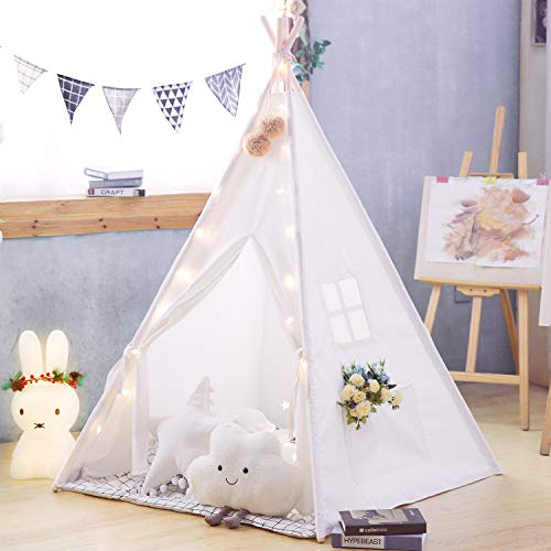 TreeBud Kids Teepee Tent with Mat, Classic Indian Play Tent for Child, Foldable Playhouse for Indoor or Outdoor Play, Cotton Canvas Children Tents for Girl and Boy with Carry Bag (White)