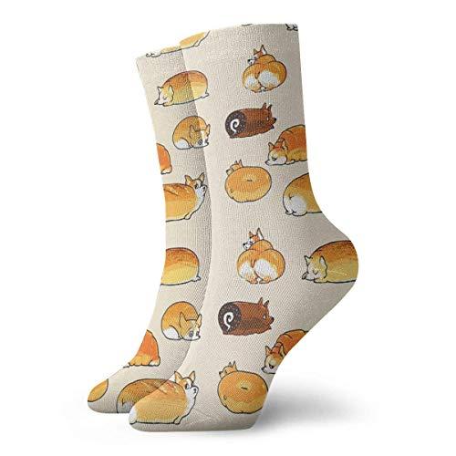 Bread Corgis Calcetines Clásicos Ocio Deporte Calcetines Cortos 30cm/11.8inch Adecuado Para Hombres Mujeres