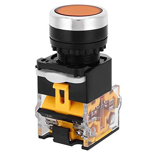 Interruptor de botón pulsador de 5 uds 22 mm, interruptor de autobloqueo de tapa redonda 37V-440V sin luz, controles eléctricos industriales(naranja)