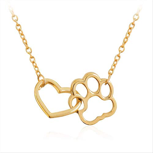 niuziyanfa Co.,ltd Hollow Heart Dog Cat Paw Prints Necklaces Cute Animal Pet Memorial Jewelry Pet Lover Puppy Paw Charm Necklace for Women Girls