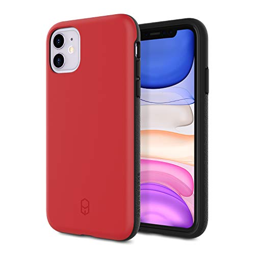 PATCHWORKS iPhone 11 Case [Level ITG Series] Thin Hybrid Shockproof Dual Layer TPU + PC Case [Military Grade Drop Test Certified] [Wireless Charging Compatible], Red