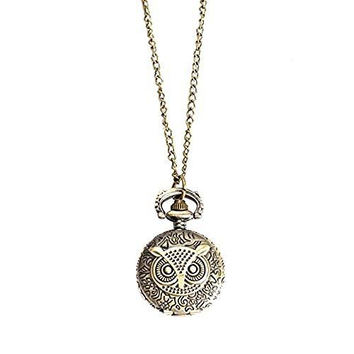 CCXXYANG Co.,ltd Necklace Unique Antique Fashion Alloy Vivid Owl Pocket Watch Pendent Necklace Chain Vintage Watch Active Clock