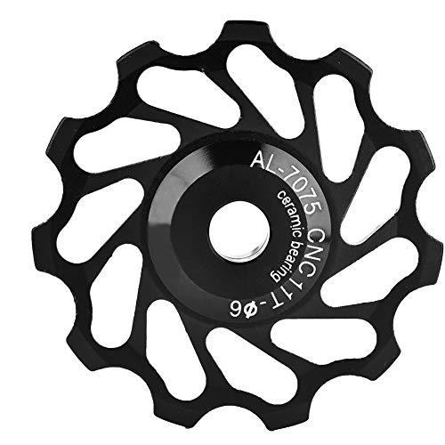 Bike Derailleur Polea Aleación De Aluminio Cerámica Jockey Rueda Ciclismo Guía Trasera para 4/5/6 mm Rueda De Guía(11T-Negro)