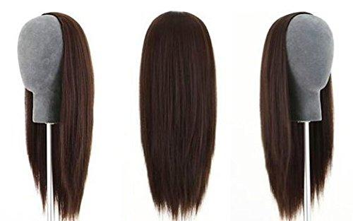 Remeehi Demi-perruque 3/4 100 % cheveux humains indiens Remy soyeux et raides Châtain foncé 38,1 cm 150 g # 2
