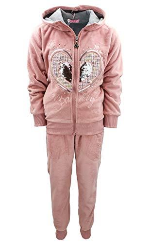 Girls Fashion Mädchen Nicki Sweatanzug Freizeitset, Sweat-Jacke + Jogginghose in Rosa, Gr. 104, MF28.4