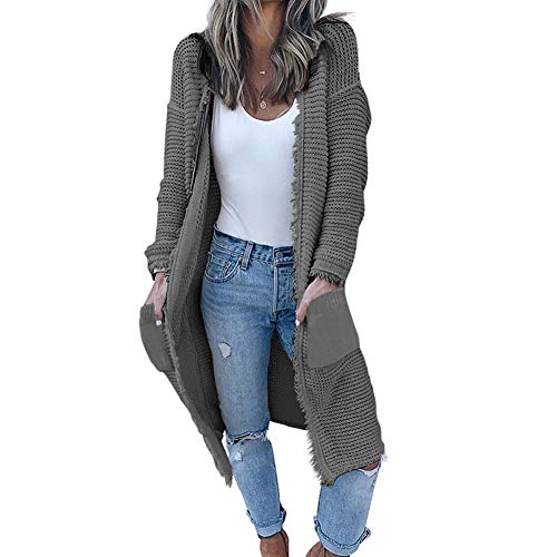GUYUEQIQIN Women's Casual Cardigan Sweaters Cozy Open Front Long Sleeve Knit Coat with Pockets(L,Grey)