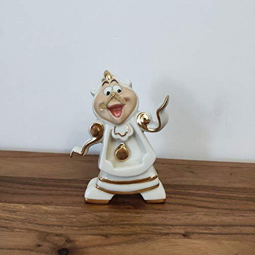 LJQLXJ Juego de té Juego de tazas de tetera de la Bella y la Bestia de dibujos animados, regalo de porcelana, esmalte pintado chapado en oro de 18 quilates, reloj Cogsworth
