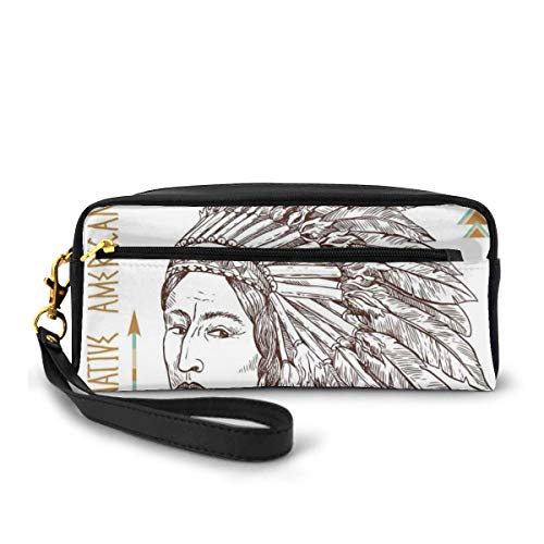 Pencil Case Pen Bag Pouch Stationary,Traditional Native Tribal Man Portrait Ethnic Illustration Print,Small Makeup Bag Coin Purse