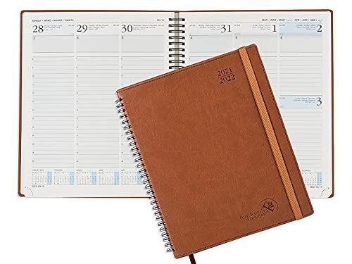 Kalender 2021 2022 ca. A4 von POPRUN - Terminplaner, Terminkalender Ringbuch mit Softcover - Wochenplaner Vertikalem mit Stundenintervall - Planer Aug 2021- Aug 2022, 26,5 x 21,5 cm, Braun