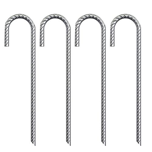DSFSAEG 4pcs tienda estaca J gancho fuerte tierra clavo jardín clavijas hierro galvanizado resistente