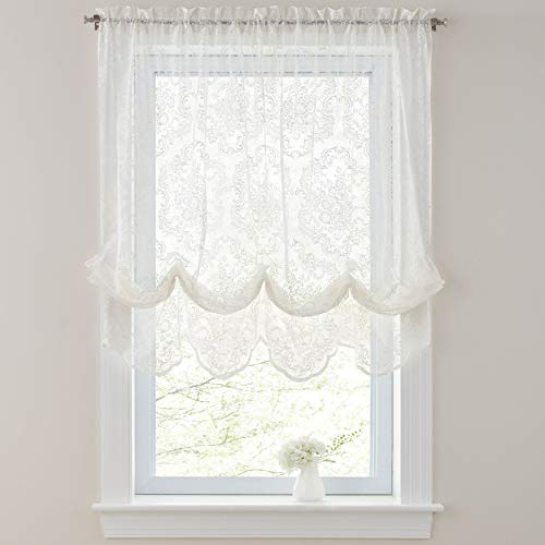 BrylaneHome Vintage Lace Balloon Shade Curtain Window Drape, Ivory